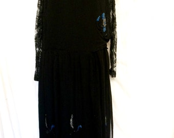 SALE WAS 275.00 Vintage 1920's Beaded Chiffon and Lace Dress Size Sm/Med