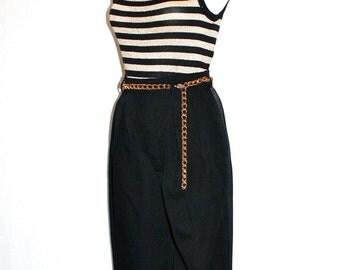 SAINT LAURENT Rive Gauche Vintage Striped Black Gold Tank Jodhpur Outfit - AUTHENTIC -