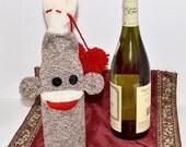 Sock Monkey Doll Wine Bottle Bag, Hostess Gift, Stocking Stuffer, Christmas Gift