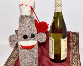 Sock Monkey Doll Wine Bottle Bag, Hostess Gift, Stocking Stuffer, Christmas Gift, Teacher Gift