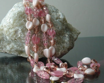 "Vintage Glass Bead Knotted Necklace - 62"" long - pink glass - West Germany"