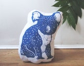 Plush Koala Pillow. Hand Woodblock Printed. Pick your colors. Made to order.