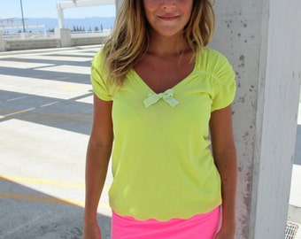 Women Dress Recycled Clothing Women Recycled Clothes Eco Friendly Handmade Greenphilosophie S-M Yellow Neon Pink For Her Soft Colorful