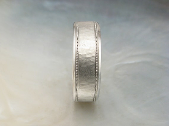 Mens Platinum Wedding Band Textured With Milgrain By