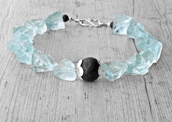 Raw Quartz and Lava Rock Necklace, Aqua Blue & Black Bold Statement Necklace, Big Chunky Necklace, Santorini Wedding Jewelry, Raw Gemstone
