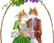 sly masquerade fox pair in 18th century clothing and masquerade masks original art print 8.5x11