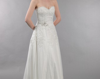 Lace wedding dress, wedding dress, bridal gown, strapless dot lace with  alencon lace appliques