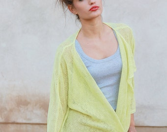 Loose Jacket Lime Linen Cardigan Yellow Kimono Knit Top Green Women Linen Cardigan , Custom Size and Color