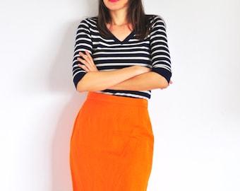 vintage tangerine pencil skirt / lined bright orange fitted above the knee skirt / linen and viscose blend high waist short skirt