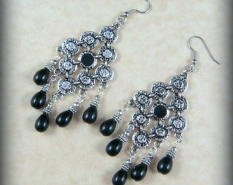 Statement Earrings - Black and Silver Chandelier Earrings - Large Chandelier Earrings - Gypsy Earrings - Antiqued Silver and Black Pearls