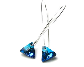 Bermuda Blue Swarovski Crystal Triangle Long Silver Dangle Earrings Geometric Ocean Theme Mermaid Glitter Modern Night Out Sparkling Jewelry