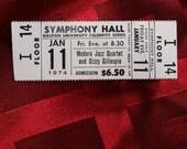 Modern Jazz Quartet Dizzy Gillespie 1974 Full Ticket Boston Symphony Hall Concert MJQ