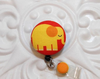 Retractable Badge Holder Id Reel  Fabric Covered Button Yellow Cute Elephant
