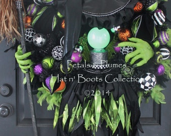 "PRE-ORDER for ""2017""Delivery-Halloween Witch Wreath- ""The Wicked Witch w/ Crystal Ball""-Giant 56"" Tall-""Petals & Plumes-SOLD Out for 2016"