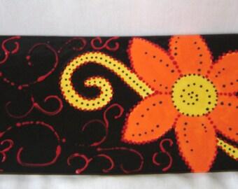 Ceramic Sushi Platter/Plate- Rectangle - Orange, Black, Red, Yellow Flower, Dots, Swirls