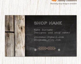 Custom Business Card - Thank you note - Rustic Wood Chalkboard business card template