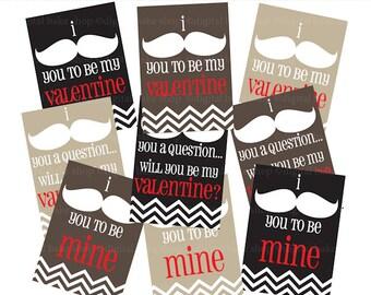 mustache valentine cards printable - Mustache Valentines Digital Printable
