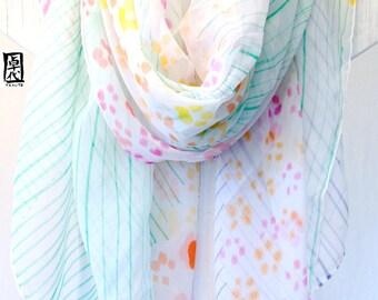 Hand Painted Silk Shawl Scarf, White Silk Shawl, Pink and Orange Petite Sumi Wildflowers. Silk Floral Scarf. Silk Chiffon Scarf. 42x71 in.