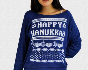 Hanukkah Sweater Ladies Women's Happy Hanukkah Sweater Ugly Funny Women's Funny Hanukkah Sweater For Jewish Women Judaica