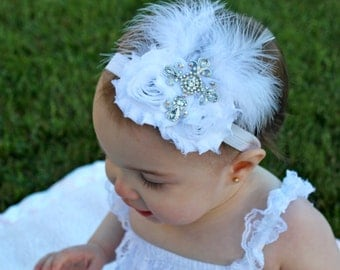 Baptism Headband - Cross Headband - White Flower Headband