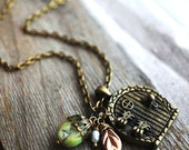 The Secret Garden - Cute Little Door Locket - Seafoam Green Bead, Freshwater Pearl, Swarovski Crystal - TheFirstKiss