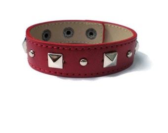 Red Leather Cuff -  Studded Leather Cuff - Leather Bracelet - Studded Red Leather Bracelet Cuff