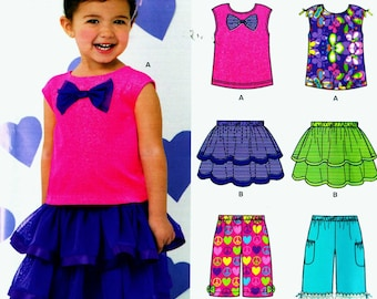 New Look 0193 Size 1/2-4 Girls' Pull on Ballerina Skirt with shell top and crop pants (uncut) sewing pattern