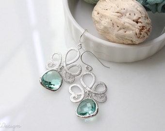 Seafoam Green & Silver Earrings. Light Green and Silver Chandelier Earrings, Bridesmaids Gifts, Light Green Wedding Jewelry