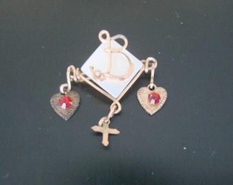 "40s Vintage Mother of Pearl Jeweled Wire Brooch / Cross / Initial Monogram ""B"" / Red Rhinestones / MOP / Jewelry / Jewellery"