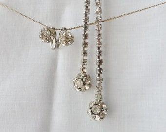 Crystal Sphere Rhinestone Lariat Necklace with Matching Earrings, Calibre Rhinestone Earring Necklace Set
