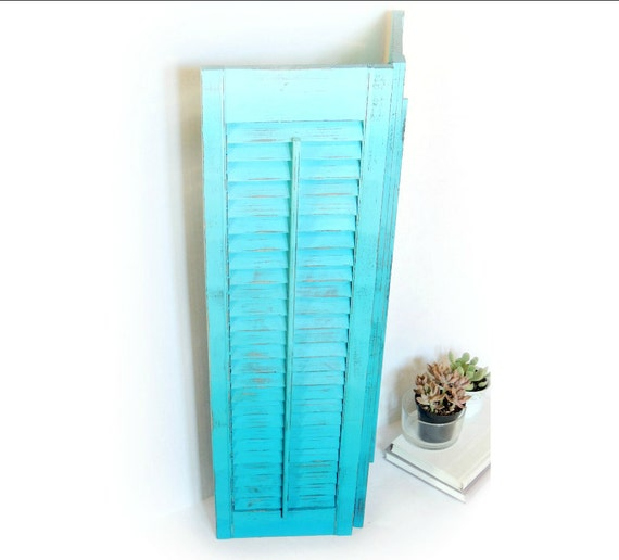 vintage wood shutters painted shabby turquoise blue distressed ombre