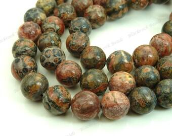 8mm Leopardskin Jasper Round Natural Gemstone Beads - 15.5 Inch Strand - Red, Blue, Brown - BA15
