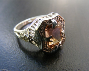 15% Off Sale.S186 Made to Order...New Sterling Silver Antique Filigree Ring with 2 Carat Natural Tourmaline Gemstone