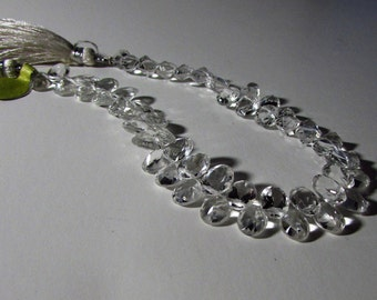 Fancy Rock Crystal Quartz Faceted Oval Diamond Cut Briolette Beads 6mm - 7mm