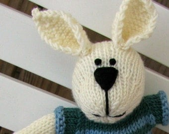 Easter Bunny Rabbit Toy - Spring Toy - Hand Knit Stuffed Bunny - Children Toy - Kids Toy - Stuffed Animal - Plush Doll -  Small Toy Liam