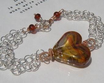 On Fire Heart Bracelet // Sterling Silver // Garnet Jewelry // Valentine Gift