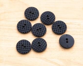 "23 Vintage 5/8"" Black Plastic 2 Hole Buttons. Bead Style Surface Design. Designer Buttons. 26L. Sewing, Applique, Crafts. Item 1588P"