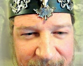 Stag Headpiece, Cernunnos, Yule Crown, Stag Circlet, Leather Headband, High Priest, LARP, Burning Man, Treasury List