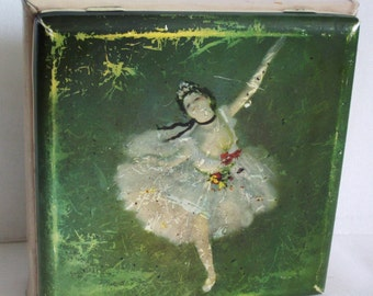 Vintage German TIN BOX, Star of the Ballet, Edgar Degas, Western GERMANY, Shabby green Impressionist painting dancing ballerina dancer litho
