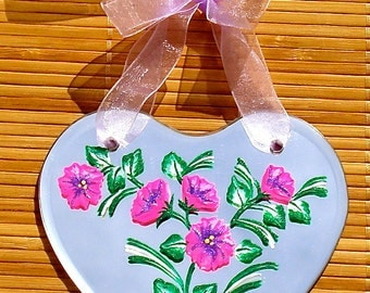 Hand Painted Heart Shaped Mirror With Pink Flowers, Hand Painted Mirror