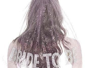 Bridal Shower Veil - Rhinestone Bride Veil, Double Layer,  Bachelorette Party Veil, White Bachelorette Veil
