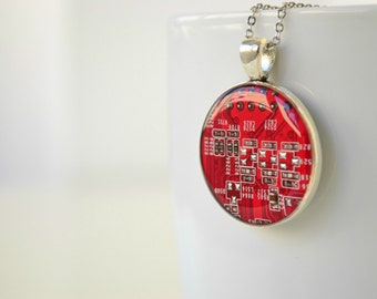 Red Circuit Board Geekery Necklace, Industrial Computer Part Jewelry