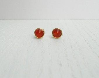 Summer SALE - Carnelian earrings, Orange stud earrings