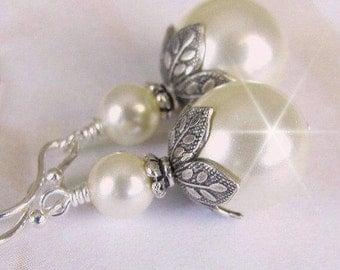 Pearl Earrings, Vintage Style Bridesmaid Pearl Drop Earrings, Antique Style Wedding Earrings, Bridesmaid Earrings, Wedding Jewelry, Silver