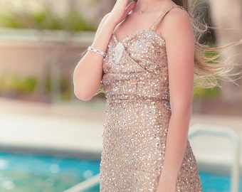 Gold Sequin Dress // Long Gold Dress For Birthday Prom Wedding Bridesmaid Evening Original Unique Designer Elegant Glamorous Beautiful Gown