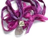 Sea Glass Sari Ribbon Necklace in Pink, Plum, & Purple. Eco-Friendly Jewelry.