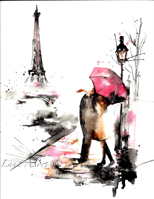 paris in rain print from original watercolor illustration. Black Bedroom Furniture Sets. Home Design Ideas