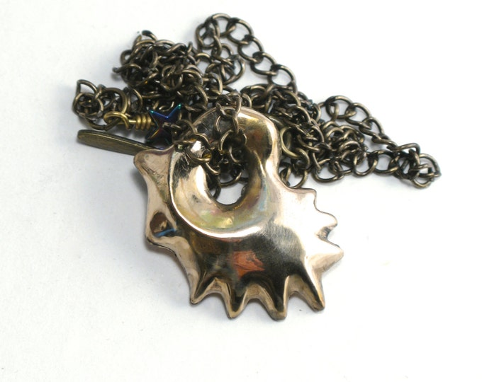 """Hand Carved Lost Wax Cast Shiny Solid Bronze Rhode Island Oyster Shell on an Antique Brass Chain with a Rainbow Star Bead Extension 16"""""""