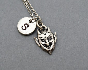 Devil face necklace, Devil mask, antique silver, initial necklace, initial hand stamped, personalized, monogram