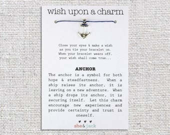 ANCHOR - Wish Bracelet - Silver Charm - Hemp Cord - Choose Your Own Color